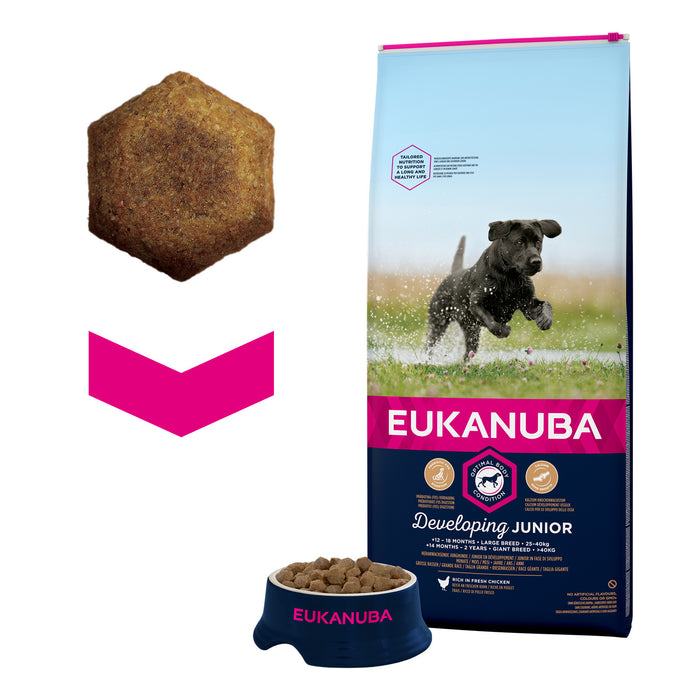Eukanuba Developing Junior Large Breed Chicken Dry Dog Food - 12kg