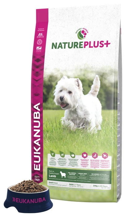 Eukanuba Nature Plus+ Small Breed Adult Lamb Dry Dog Food Wheat Free - 2.3kg