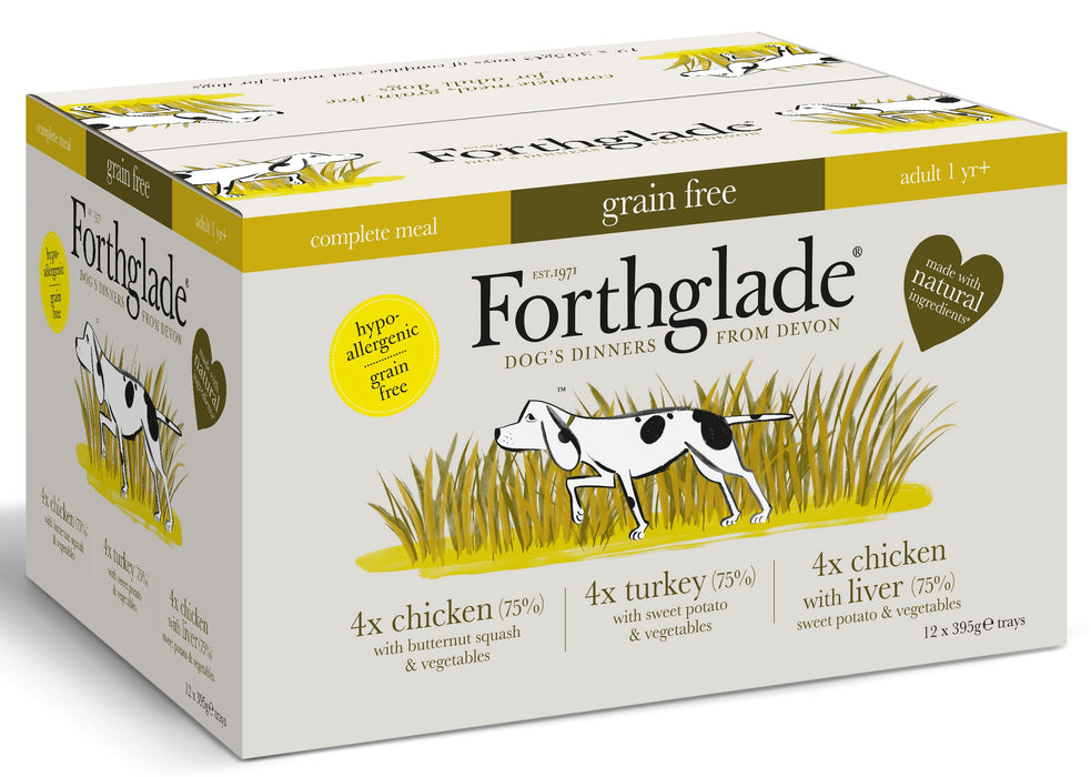 Forthglade Complete Adult Poultry Variety Pack Grain Free Wet Dog Food - 12 x 395g