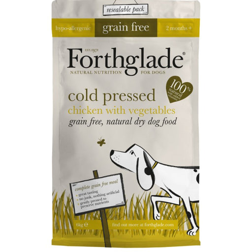 Forthglade Grain Free Cold Pressed Chicken Dry Dog Food - 1Kg