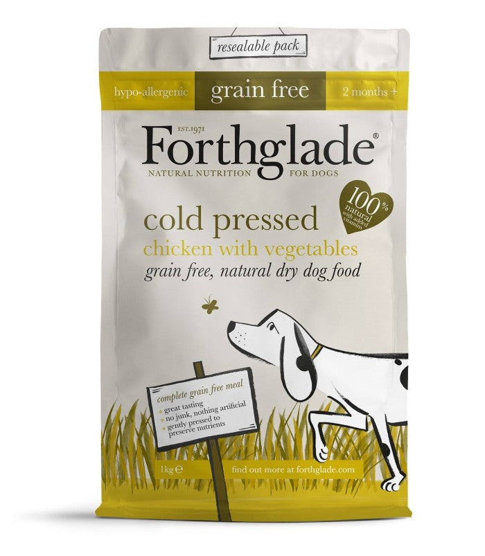 Forthglade Grain Free Cold Pressed Chicken Dry Dog Food - 2.5Kg
