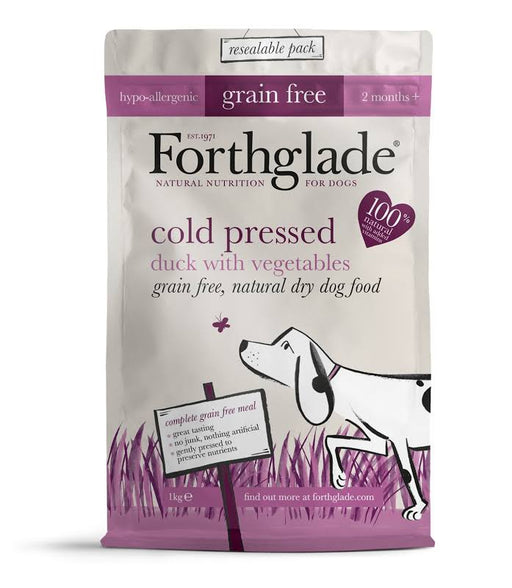 Forthglade Grain Free Cold Pressed Duck Dry Dog Food - 1Kg
