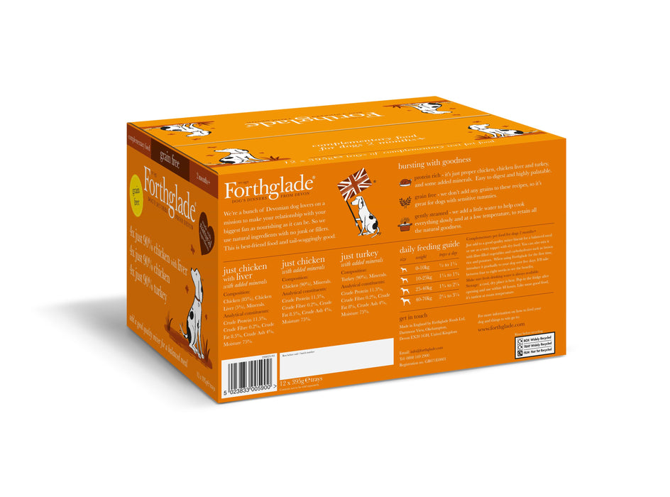 Forthglade Just 90% Poultry Variety Case (Chicken/ Chicken With Liver & Turkey) - 12 x 395g