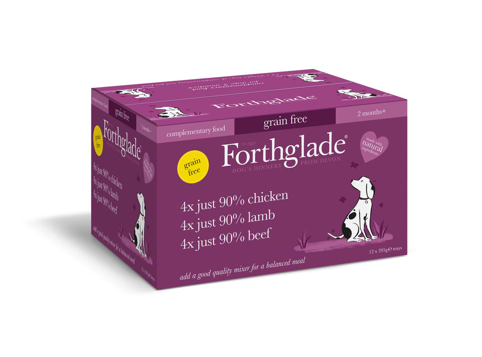 Forthglade Just 90% Adult Multicase Grain Free Dog Food - 12 x 395G