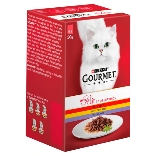 Gourmet Mon Petit Beef/ Chicken and Lamb Cat Food 6 x 50g