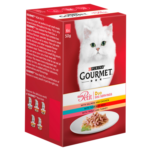Gourmet Mon Petit Duo Fish and Meat Selection Cat Food 6 x 50g