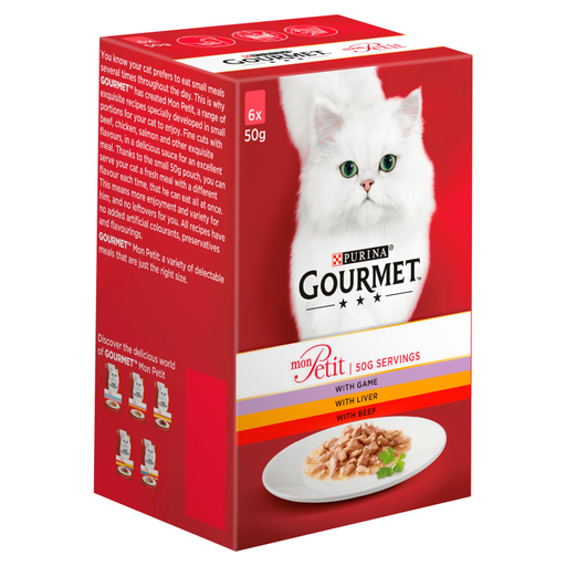 Gourmet Mon Petit Game/ Liver and Beef Cat Food 6 x 50g
