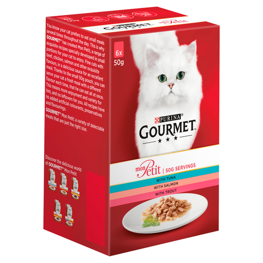 Gourmet Mon Petit Tuna/ Salmon and Trout Cat Food 6 x 50g