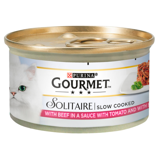 Gourmet Solitaire Beef & Tomato Cat Food 12x85g