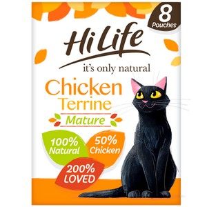 HiLife It's Only Natural Chicken Terrine Mature Cat Food Pouches - 8 x 70g