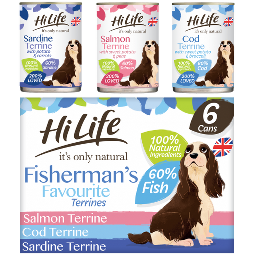HiLife It's Only Natural Fisherman's Favourite Terrines Wet Dog Food Cans - 6 x 395g