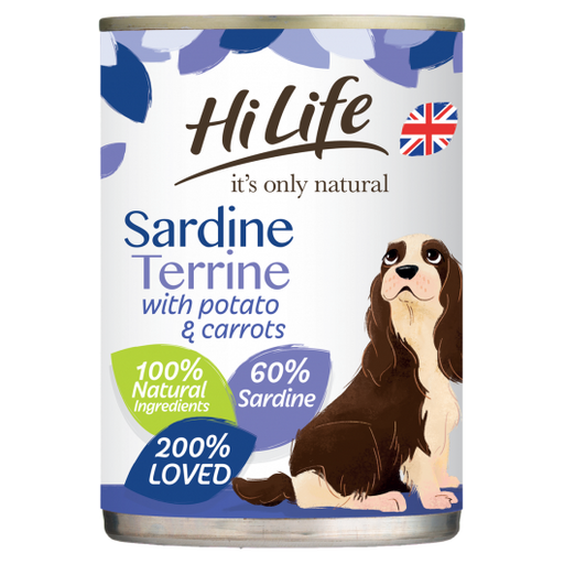 HiLife It's Only Natural Sardine Terrine With Potato & Carrots Wet Dog Food Cans 385g