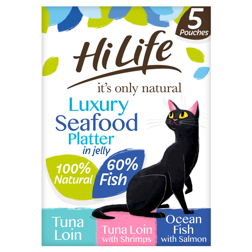 HiLife It's Only Natural Luxury Seafood Platter in Jelly Multipack Cat Food 5 x 50g