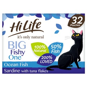HiLife It's Only Natural The Big Fishy One in Jelly Adult Cat Food Pouches - 32 x 70g