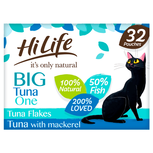 HiLife It's Only Natural The Big Tuna One in Jelly Adult Cat Food Pouches - 32 x 70g