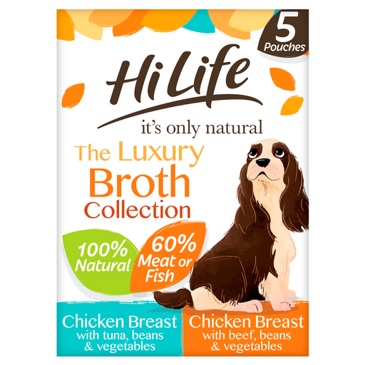 HiLife It's Only Natural The Broth Collection Wet Dog Food Pouches - 5 x 100g