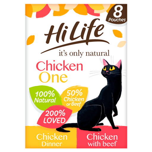 HiLife It's Only Natural The Chicken One in Jelly Adult Cat Food Pouches - 8 x 70g