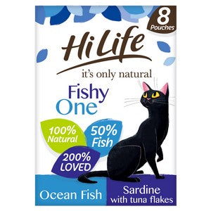 HiLife It's Only Natural The Fishy One in Jelly Adult Cat Food Pouches - 8 x 70g