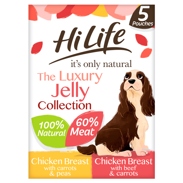 HiLife It's Only Natural The Jelly Selection Wet Dog Food Pouches - 5 x 100g