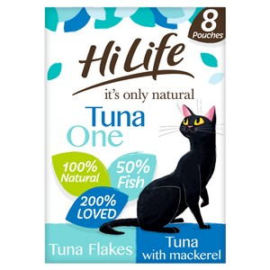 HiLife It's Only Natural The Tuna One in Jelly Adult Cat Food Pouches - 8 x 70g