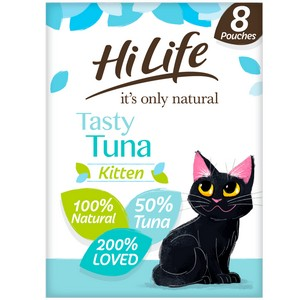 HiLife It's Only Natural Tasty Tuna Kitten Food Pouches - 8 x 70g