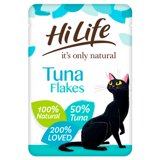 HiLife It's Only Natural Tuna Flakes in Jelly Adult Cat Food Pouches - 18 x 70g