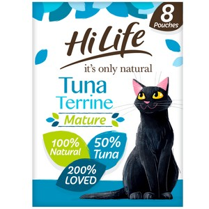 HiLife It's Only Natural Tuna Terrine Mature Cat Food Pouches - 8 x 70g