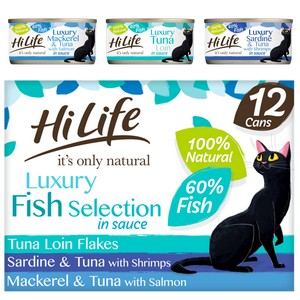 HiLife It's Only Natural Luxury Fish Selection In Sauce Wet Cat Food Cans - 12 x 70g