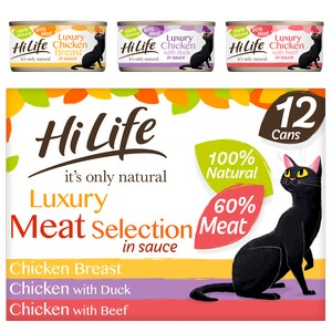 HiLife Luxury Meat Selection In Sauce Wet Cat Food Cans - 12 x 70g
