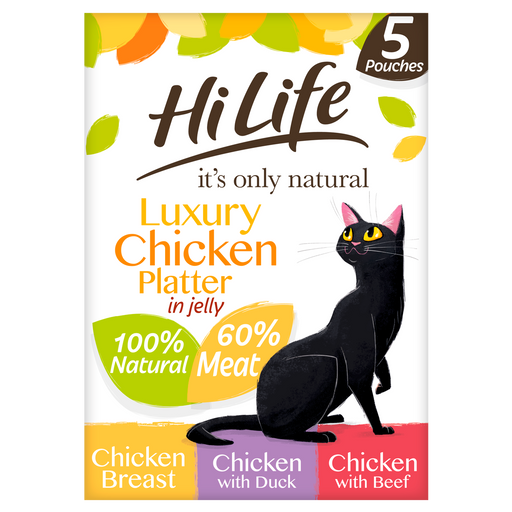 HiLife It's Only Natural Luxury Chicken Platter in Jelly Multipack Cat Food 5 x 50g
