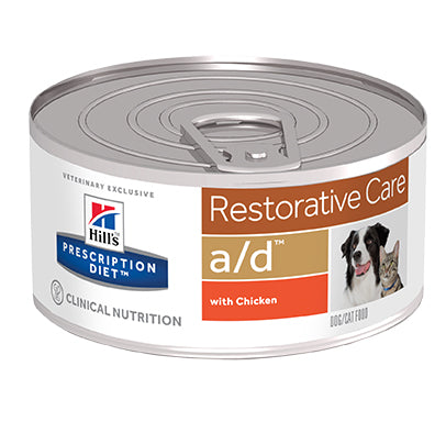 Hill's Prescription Diet A/D Restorative Care with Chicken Dog/Cat Food - 24 x 156g