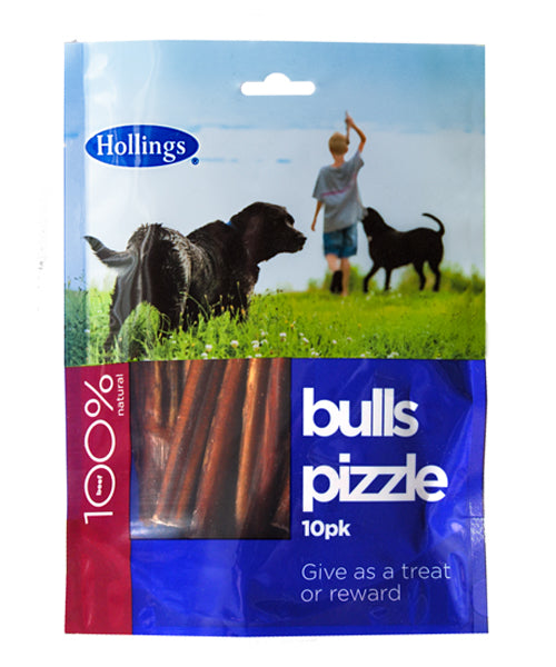 Hollings Bulls Pizzle Pre Pack 1Pack Natural Dog Chews - 10Pk