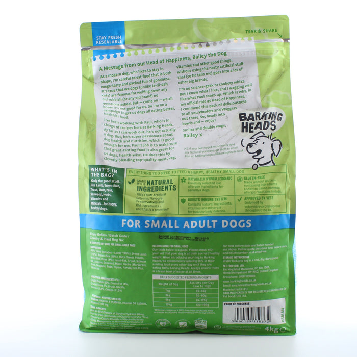 Barking Heads Chop Lickin' Lamb Small Adult Dry Dog Food 4 kg - 1