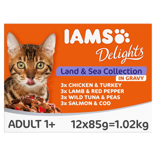 Iams Delights Land and Sea Collection in Gravy Cat Food Pouches 12 x 85g