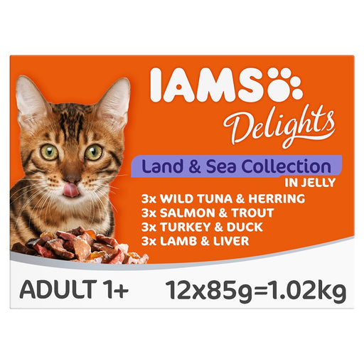 Iams Delights Land and Sea Collection in Jelly Cat Food 12 x 85g