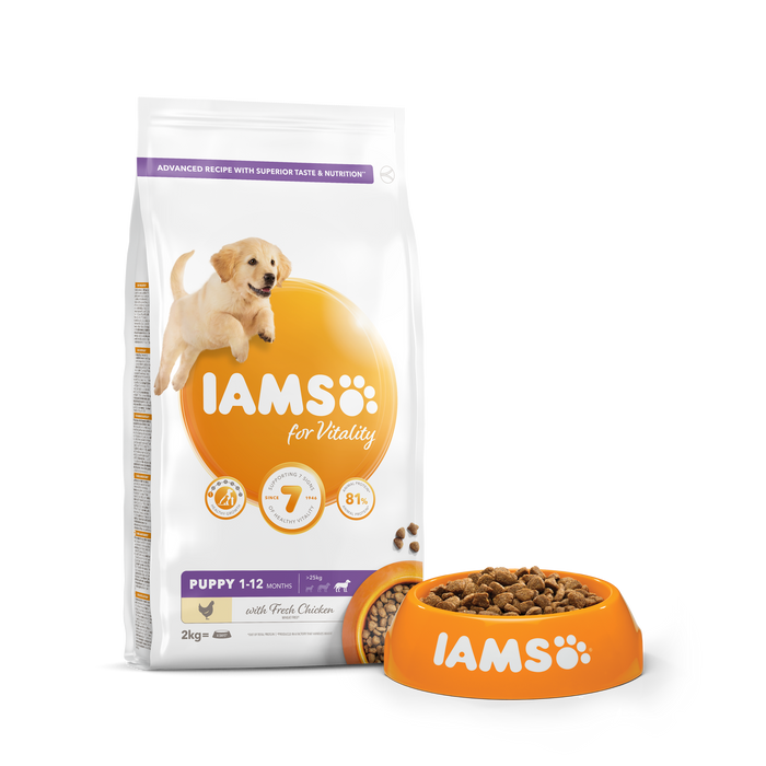 Iams for Vitality Large Breed Puppy With Fresh Chicken Dry Dog Food - 2Kg