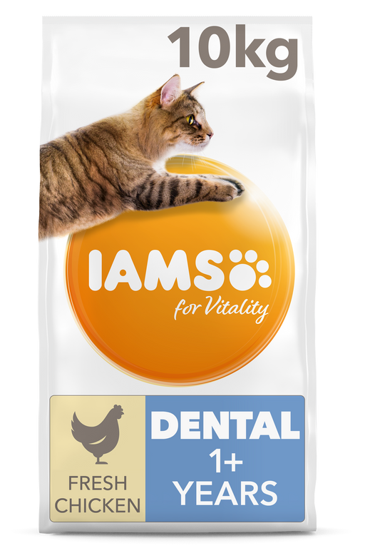Iams for Vitality Dental Care With Chicken Adult Dry Cat Food 10kg