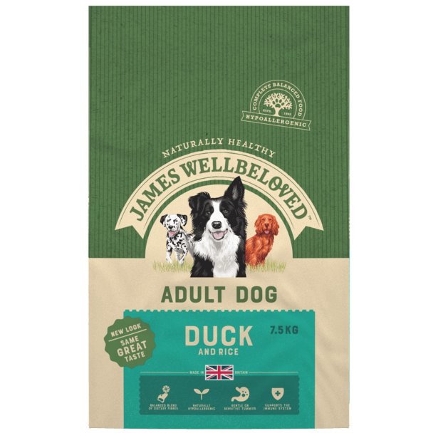 James Wellbeloved Duck & Rice Adult Dry Dog Food - 7.5kg