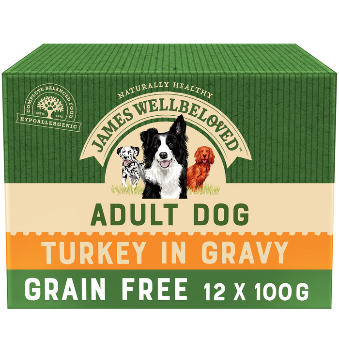 James Wellbeloved Grain Free Turkey Adult Dog Pouches - 12 x 100g