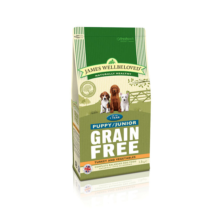 James Wellbeloved Puppy/ Junior Grain Free Turkey & Vegetables Dry Dog Food -1.5kg