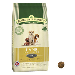 James Wellbeloved Lamb & Rice Light Dry Dog Food - 12.5kg