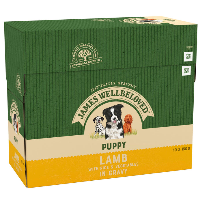 James Wellbeloved Lamb & Rice Puppy/Junior Dog Pouches 10 x 150g