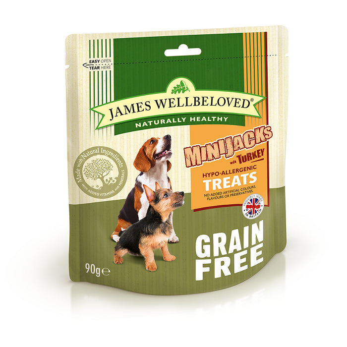 James Wellbeloved Mini Jacks Grain Free Turkey Dog Treats - 90g