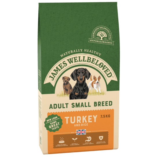James Wellbeloved Turkey & Rice Adult Small Breed Dry Dog Food - 7.5kg