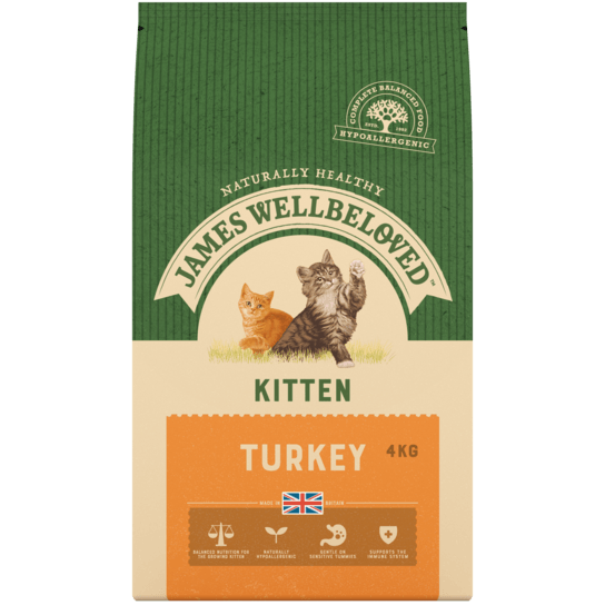 James Wellbeloved Turkey & Rice Dry Kitten Food - 4kg