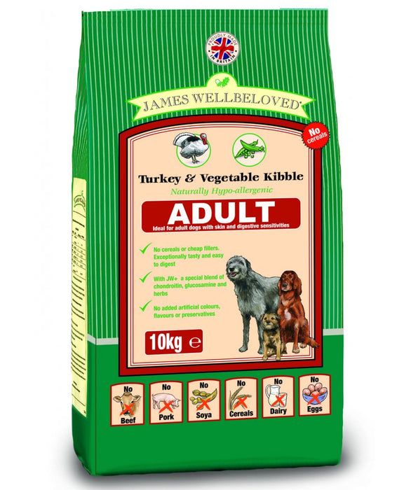 James Wellbeloved Turkey & Vegetable Adult Dry Dog Food - 10kg
