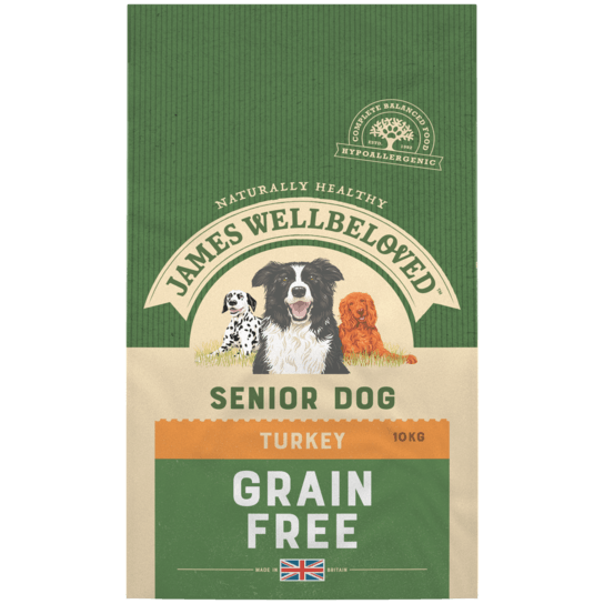 James Wellbeloved Turkey & Vegetable Grain Free Senior Dry Dog Food - 10kg