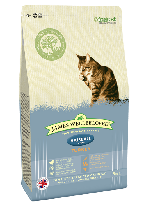 James Wellbeloved Adult Hairball Turkey Dry Cat Food - 1.5kg