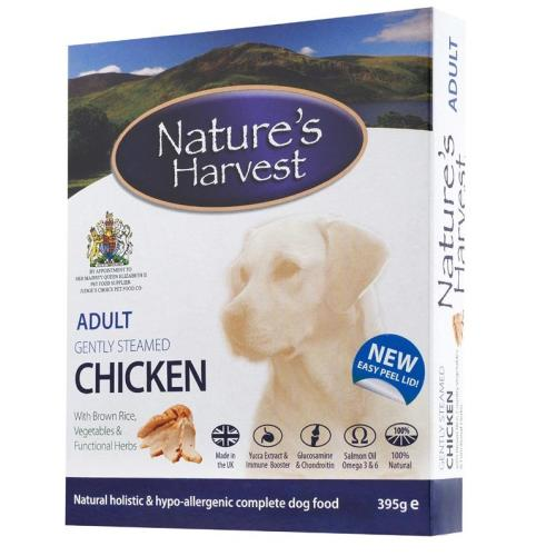 Nature's Harvest Original Chicken and Brown Rice Trays Dog Food - 10 x 395g