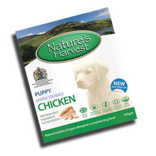 Nature's Harvest Chicken and Brown Rice Puppy Food Trays - 10 x 395g